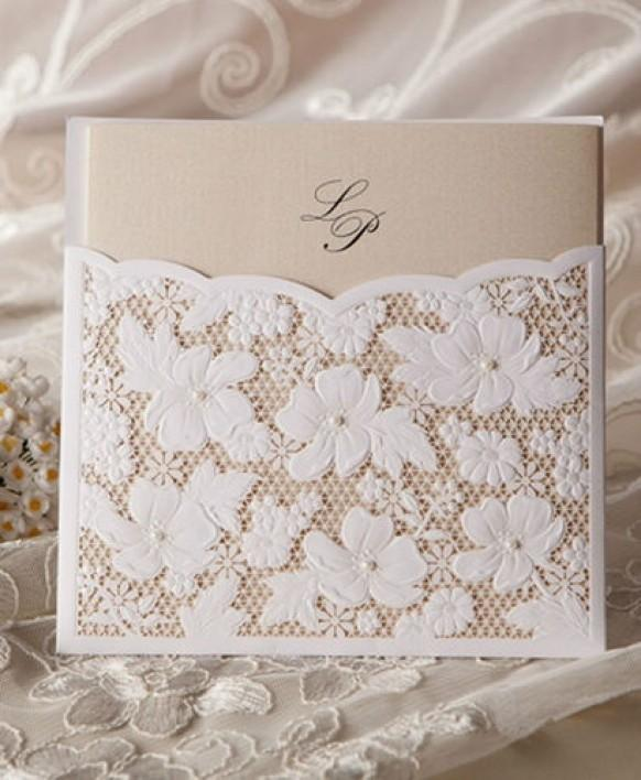 Cheap Flower Lace Pocket Card Wedding Invitation #1364138 - Weddbook