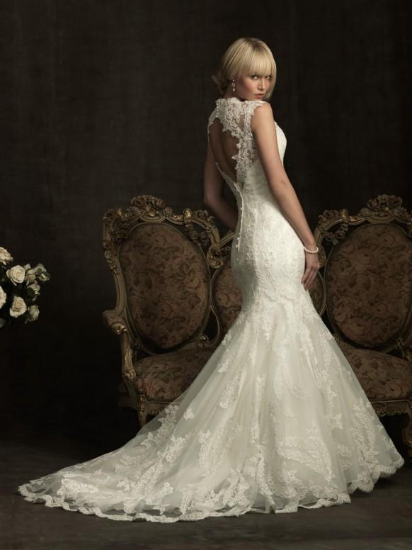 Elegant Lace Mermaid Wedding Dress Ivory Lace Open Back Gown By Allure Bridals 1757363