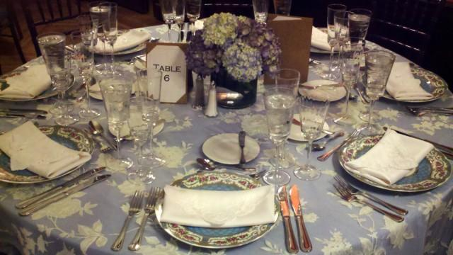 image of blue, white, table setting, decoration, reception, china, hydrangea