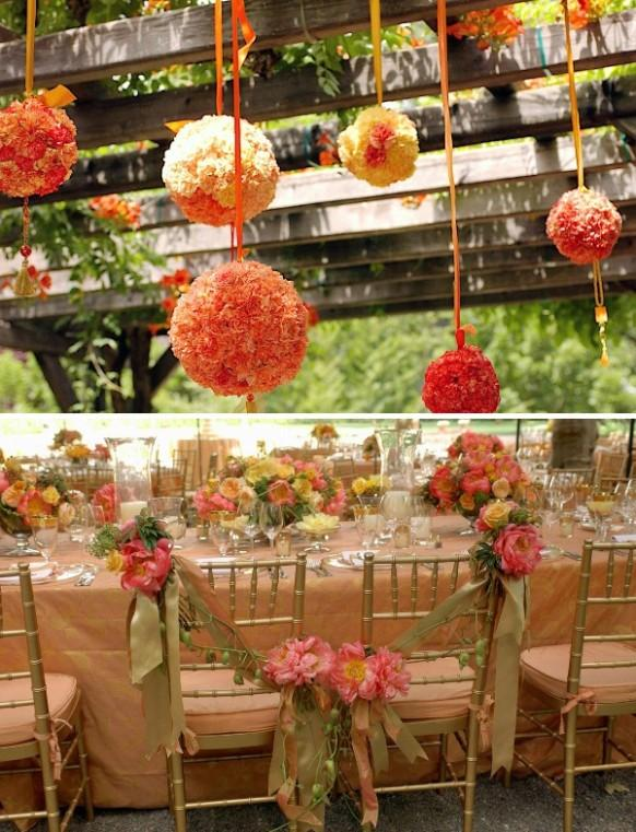 Summer wedding decor orange hanging flower kissing ball for Flower garden decorations
