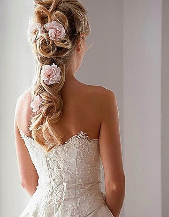 Bridal Hair Down With Flowers : Half up down wedding hairstyles with pink flowers
