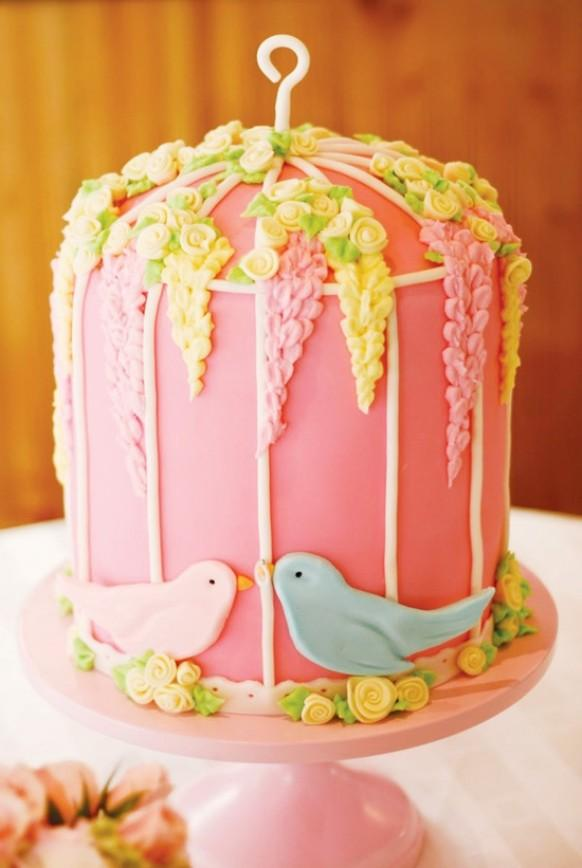 Pretty Pink Birdcage Wedding Cake With Blue And Pink Love  ~ 181440_Love Cake Decoration Ideas