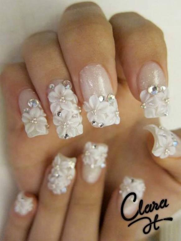Маникюр на ногтях фото свадебный