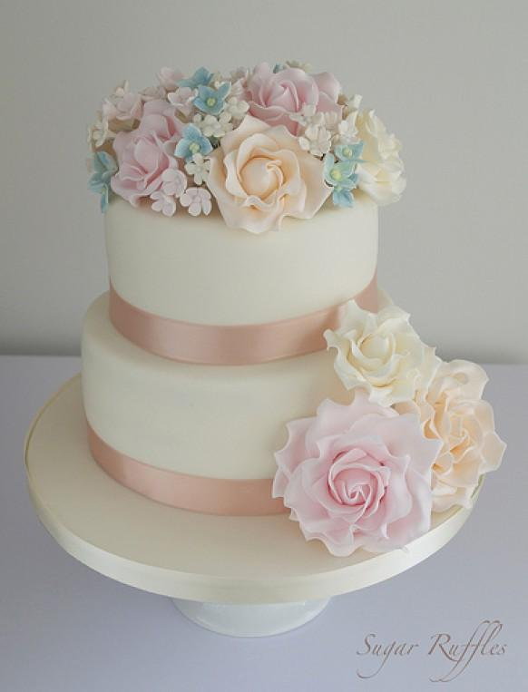 Butterfly Wedding Cake Coral And Lace