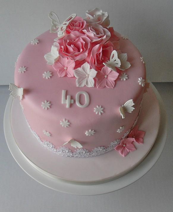 Wedding Cakes - Pink 40Th Birthday Cake #1987736 - Weddbook