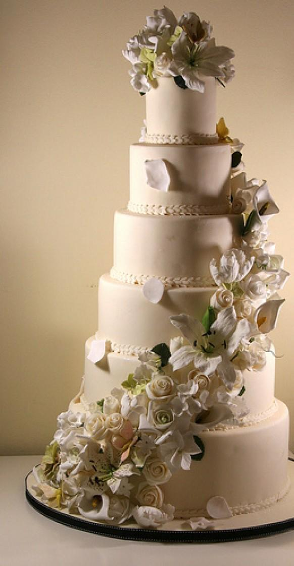 6 Tier Wedding Cake With Sugar Flowers Cascade 1987962 Weddbook