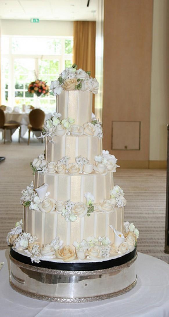 Four Tier Wedding Cake With Stripes