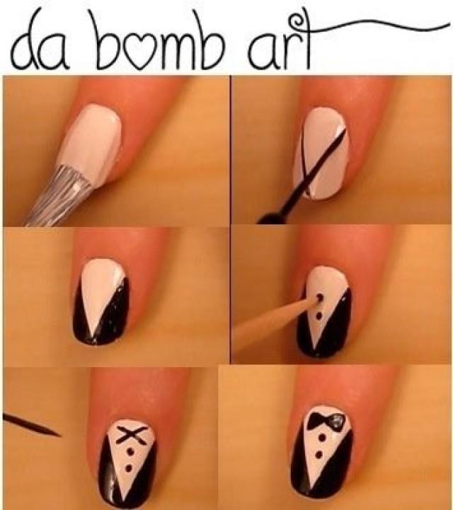 Галстук рисунок на ногтях