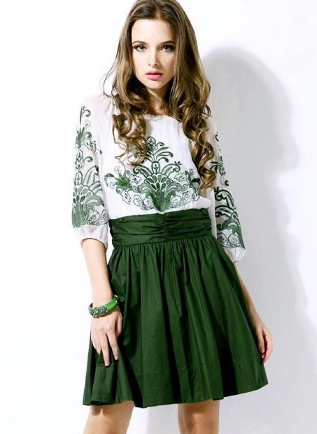 White And Green Embroidery Half Sleeve Chiffon Dress - Sheinside ...