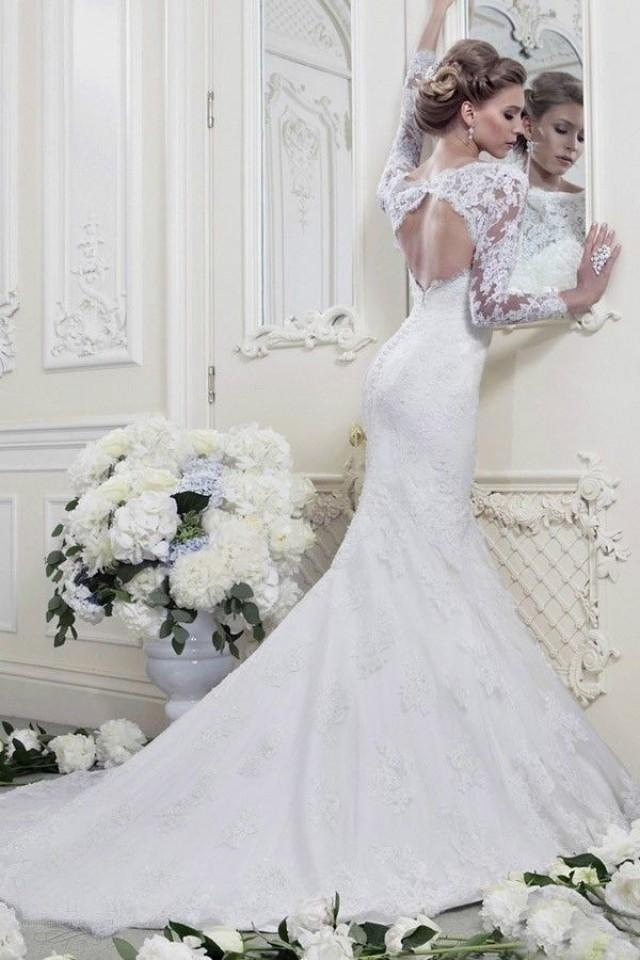 2014 Fashion White Ivory Mermaid Long Sleeve Lace Wedding Dresses Custom Made
