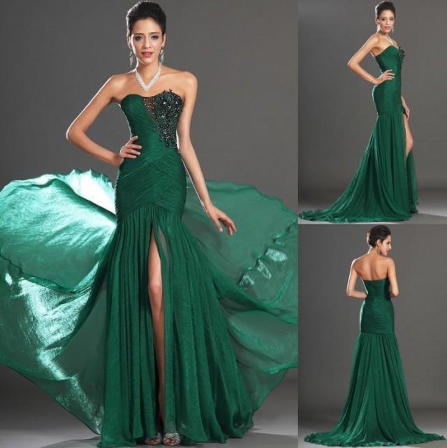 2014 elegant new long prom dress ball gowns beaded mermaid