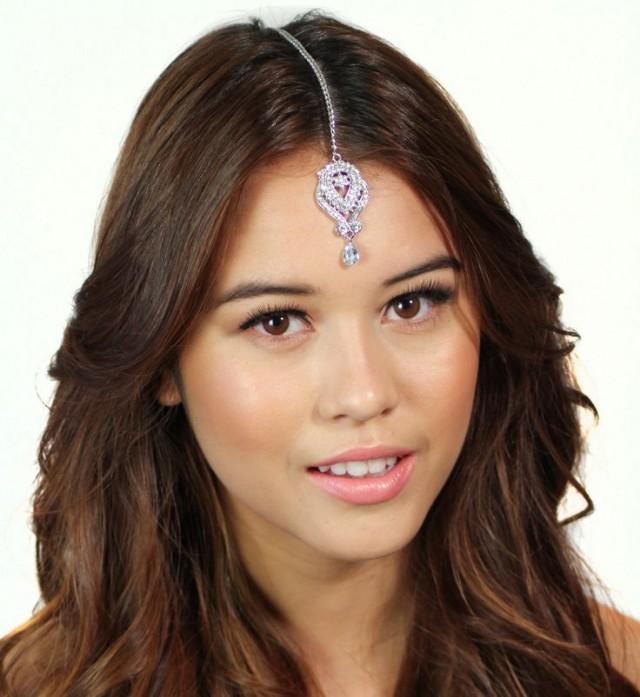 Crystal Chain Tikka Vintage Headpiece Headband Bridal Prom