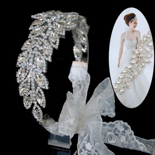 hochzeit braut tiara kopfschmuck hochzeit strass spitze stirnband haar zusatz 2042215 weddbook. Black Bedroom Furniture Sets. Home Design Ideas