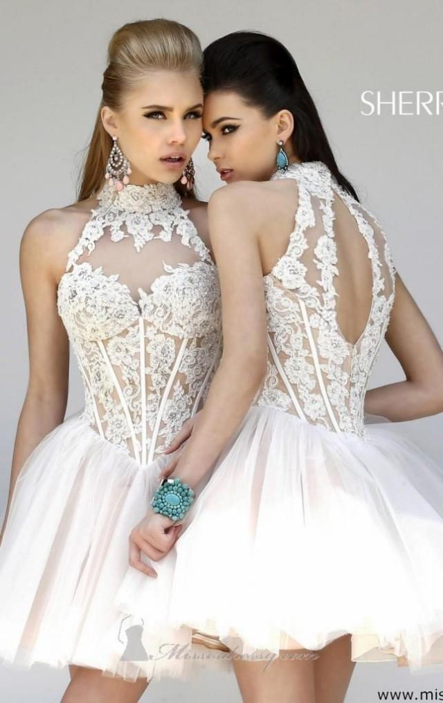 Ivory wedding gorgeous bridesmaid dress by sherri hill for Sherri hill short wedding dress