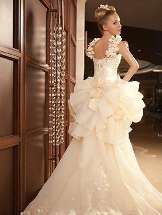 wedding photo - Short Front and Long Back Puff Skirt Wedding Dress