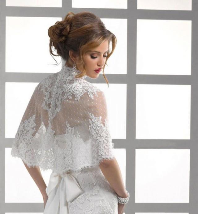 High Neck Button Back Lace Jacket Bolero Coat Bridal Wedding Wrap Shrug 2051730