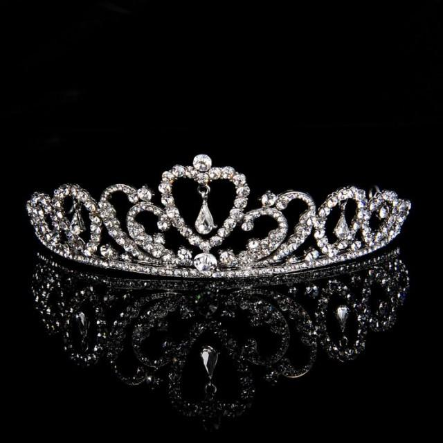 Bridal Rhinestone Crystal Wedding Prom Crown Tiara With Dangle Heart 5cm High 2051732