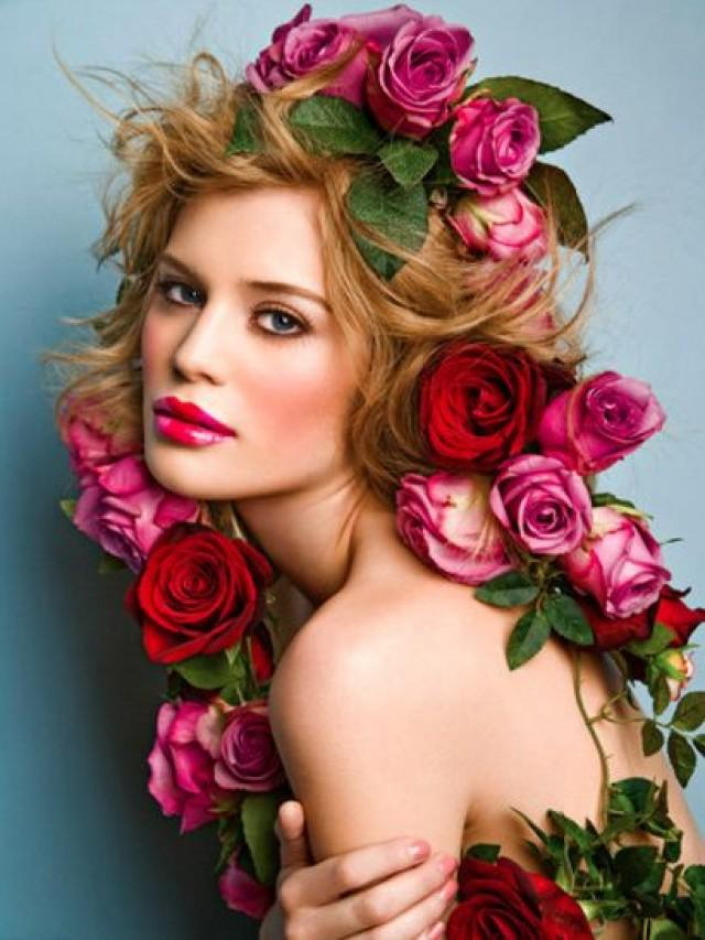 Bridal Makeup Flower Making : Fantasy surrounding with a beauty wearing roses as