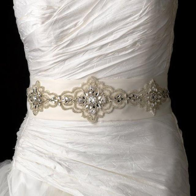 Elaborate beaded rhinestone ivory wedding dress belt sash for Ivory wedding dress sash