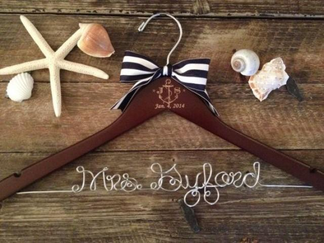 Anchor wedding hanger nautical bridal hanger beach for Wedding dress hanger amazon