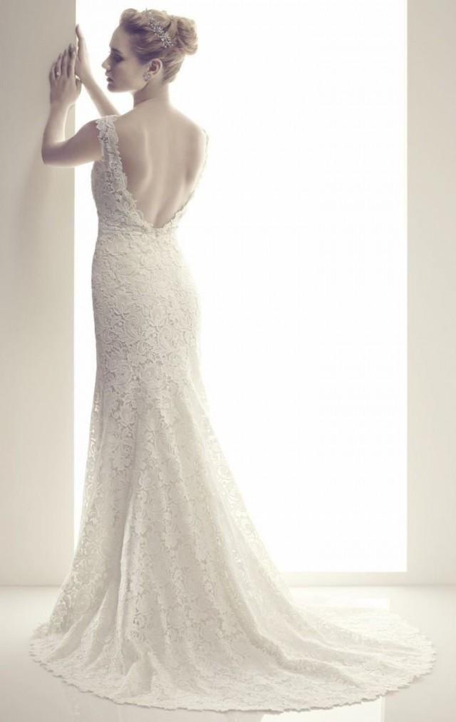 New sheath white ivory v neck wedding dresses backless for Backless sheath wedding dresses