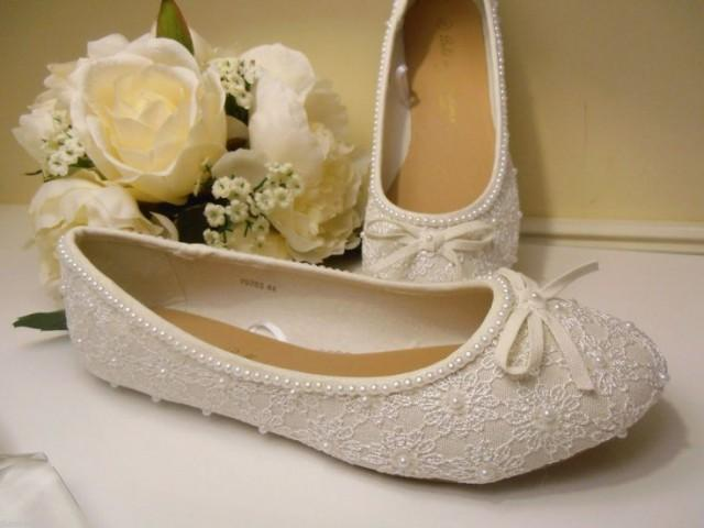 Bespokehandcrafted Pearl Amp Lace Wedding Bride Bridesmaid Ballet Pumps Shoes 2159393