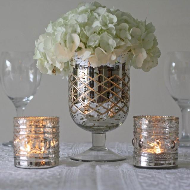 Silver wedding mercury footed vase large