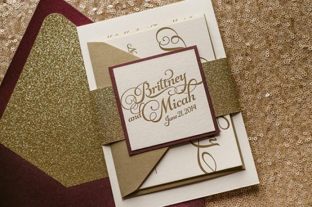 Burgundy And Gold Wedding Invitations: Wine & Gold Fall Wedding Invitation, Gold Glitter Wedding