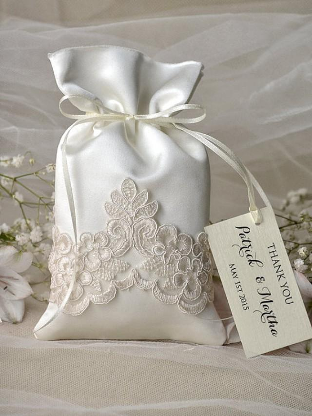 Wedding Gift Bag Thank You Tags : Vintage Wedding Favor Bag - Lace Wedding Favor Bags #2218046 ...