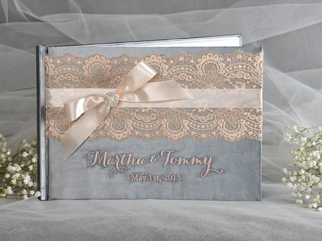 Wedding Guestbook Grey And Peach Guest Book Lace Custom Vintage