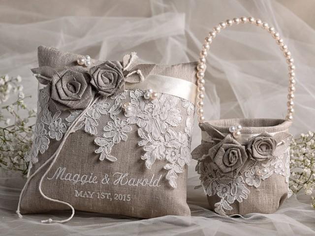 Flower Girl Basket & Ring Bearer Pillow Set, Shabby Chic Natural Linen, Embriodery Names - New ...