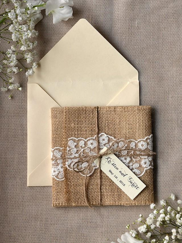 custom listing  eco recycling lace wedding invitation,burlap, Wedding invitations