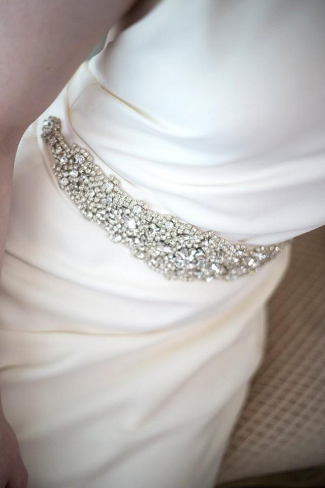 Bridal gown sash wedding dress sash rhinestone sash for Rhinestone sash for wedding dress
