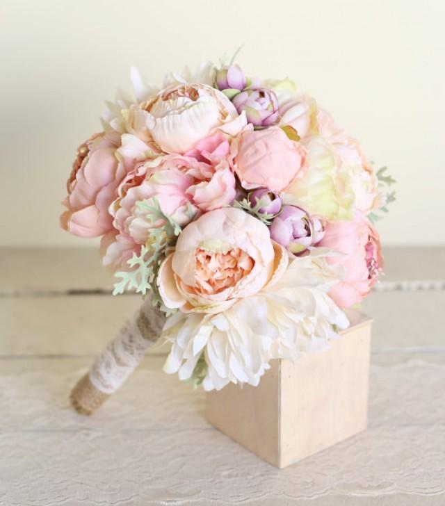 Silk Bridal Bouquet Pink Peonies Dusty Miller Garden