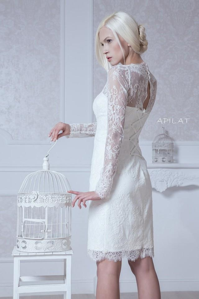 Fitted style short wedding dress short lace wedding dress for Short fitted wedding dresses