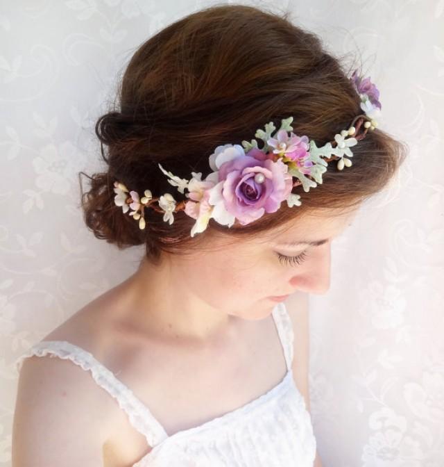 Bridal Flower Wreath For Hair : Bridal floral crown light purple hair circlet