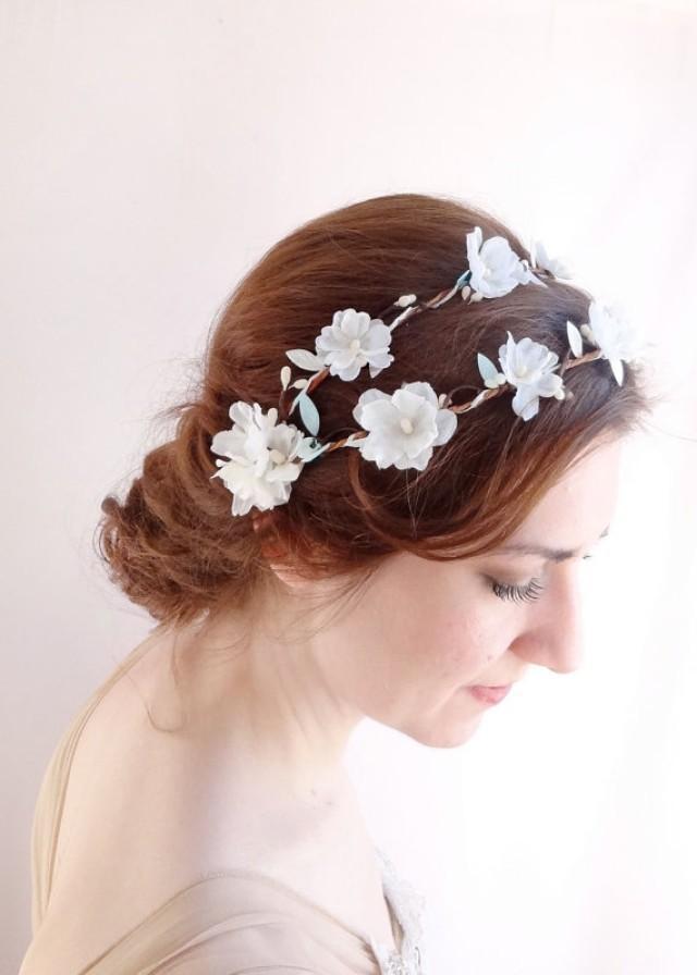 mint wedding bridal halo white flower hair vine 2226892 weddbook. Black Bedroom Furniture Sets. Home Design Ideas