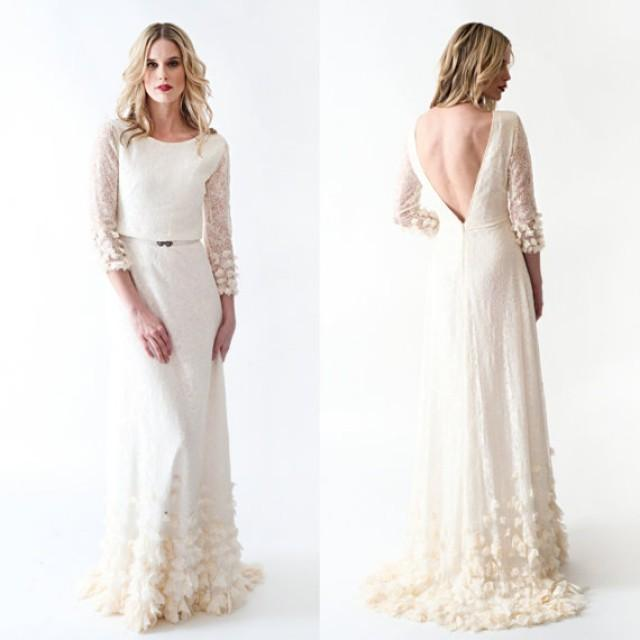 Wedding Dress With Sleeves Open Back And BEAUTIFUL Skirt #2229580 ...