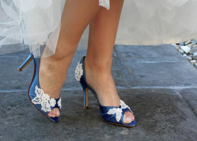 ce04a6e020a Wedding shoes peep toe low heel and high heel bridal shoes embellished with  floral ivory French lace - crystal sequins
