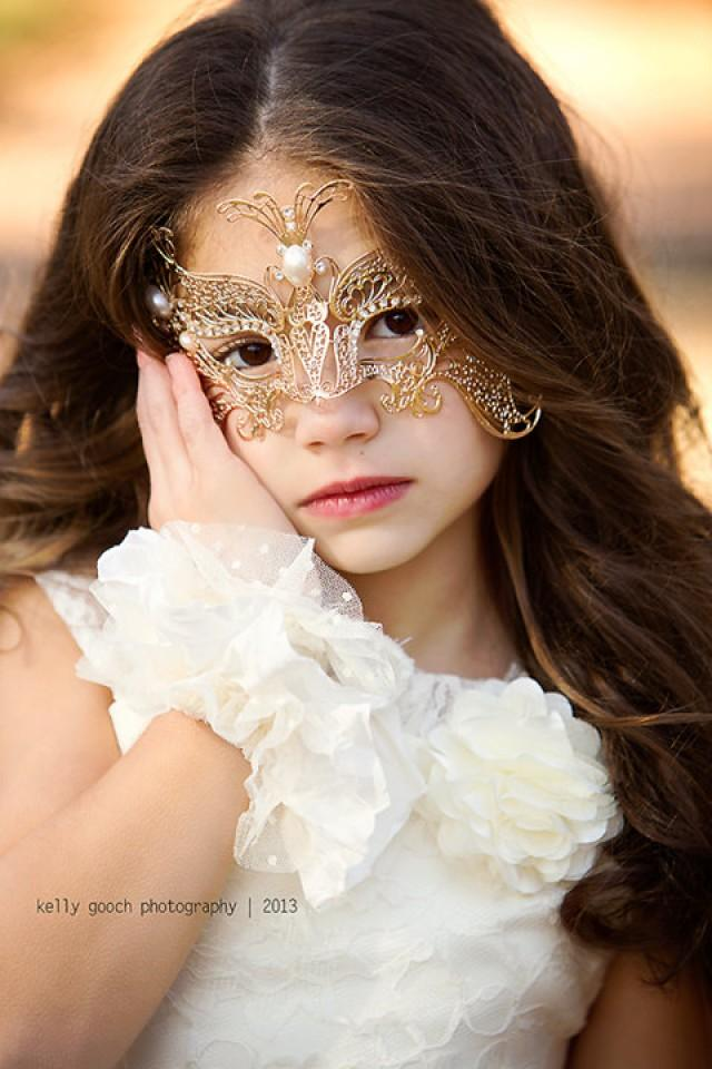 Girls Masquerade Mask---Gold Butterfly---Flower Girl--Weddings--Pageants--Masquerade Ball ...