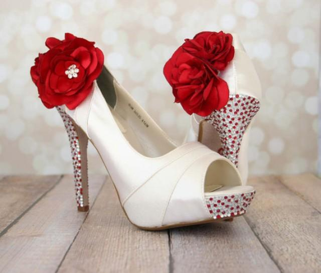 wedding photo - Bridal Shoes with Red and Silver Rhinestones