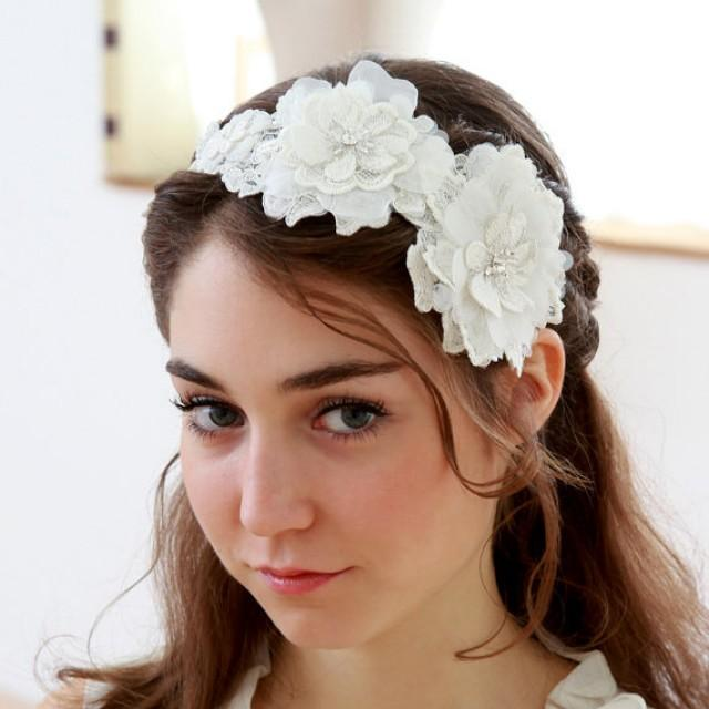 wedding photo - White blossoming flower wedding headband