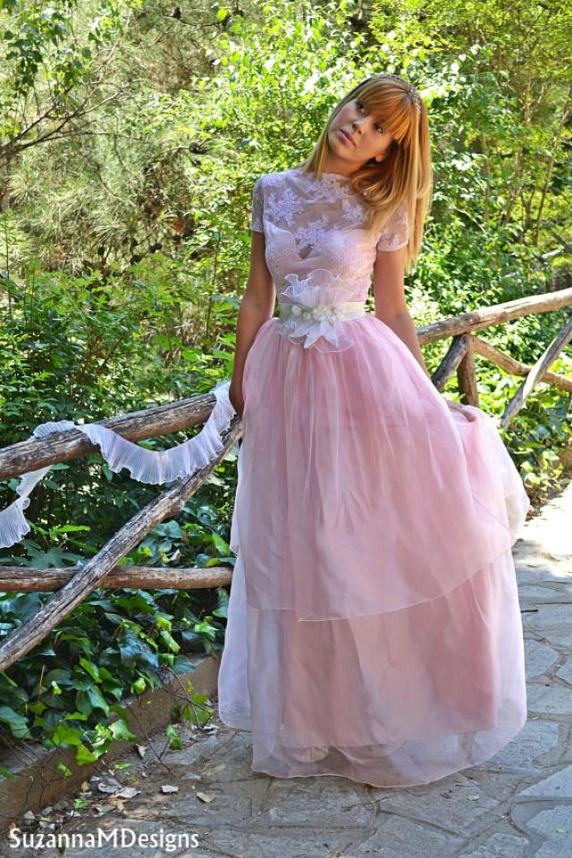 wedding photo - Pink laced romantic wedding gown