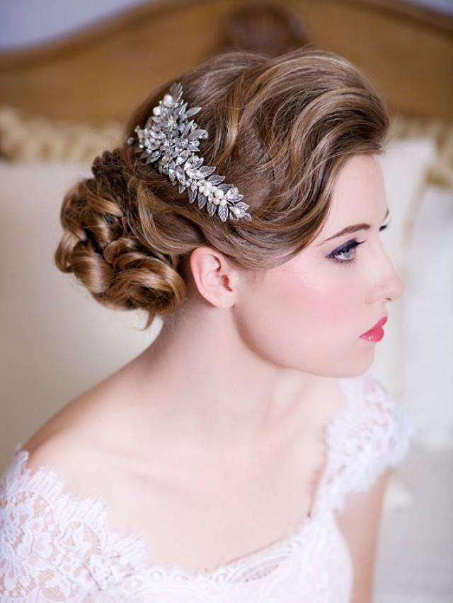 Silver Leaf Headpiece With Crystals And Pearls, Wedding ...