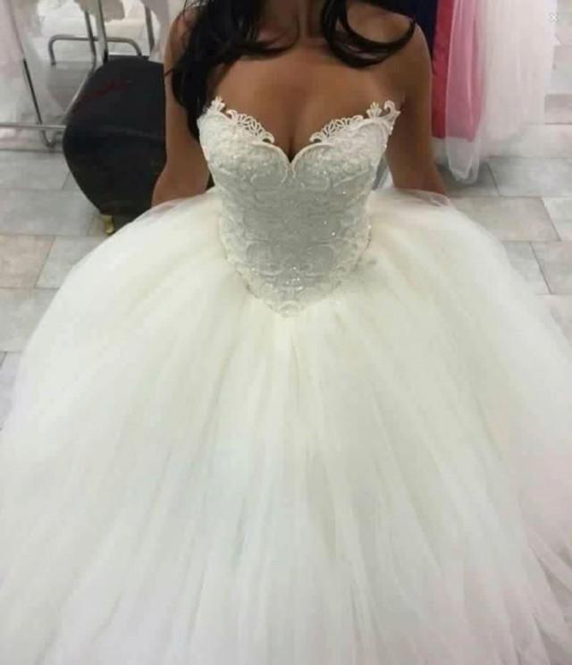 wedding photo - Sleeveless Ball-Gown Lace Sweetheart-Neck Amazing Wedding Dresses