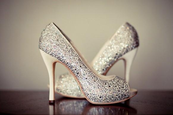 Silver Sparkly Wedding Shoes Glitter Bridal Shoes 796552