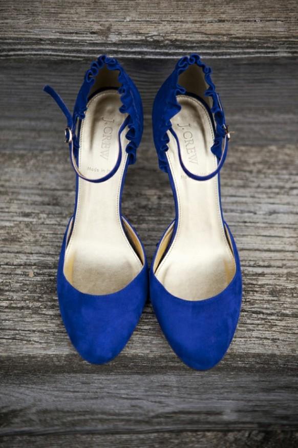 wedding photo - Blue Suede Brautschuhe ♥ Vintage Brautschuhe
