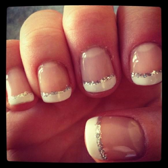 Excellent French Tip Nails with Glitter 582 x 582 · 29 kB · jpeg
