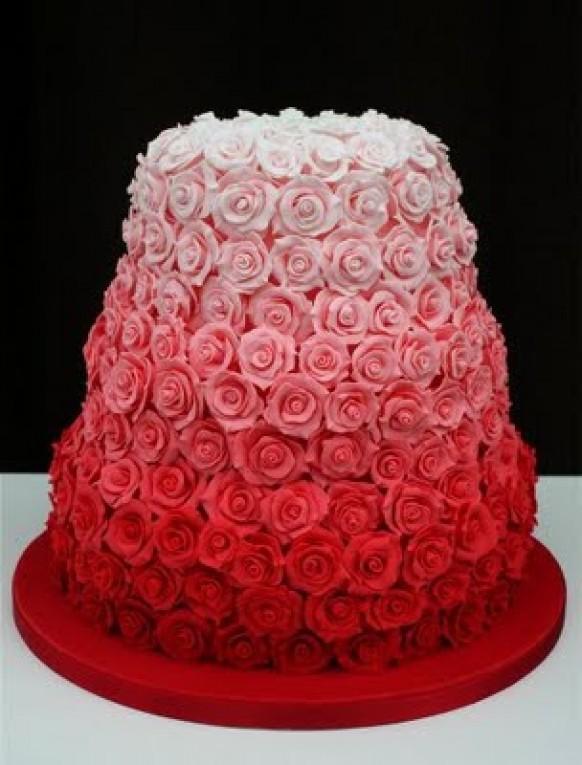 Rose Design Wedding Cake : Rose Wedding - Ombre Wedding Cake Design #805143 - Weddbook