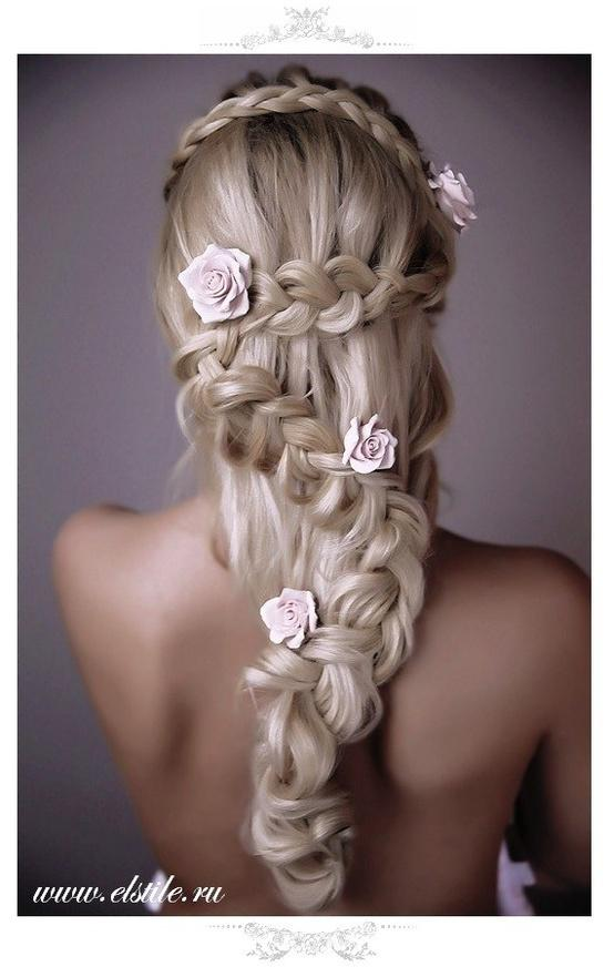 Marvelous Braid Wedding Hairstyle With Roses Amazing Wedding Hairstyles Short Hairstyles Gunalazisus